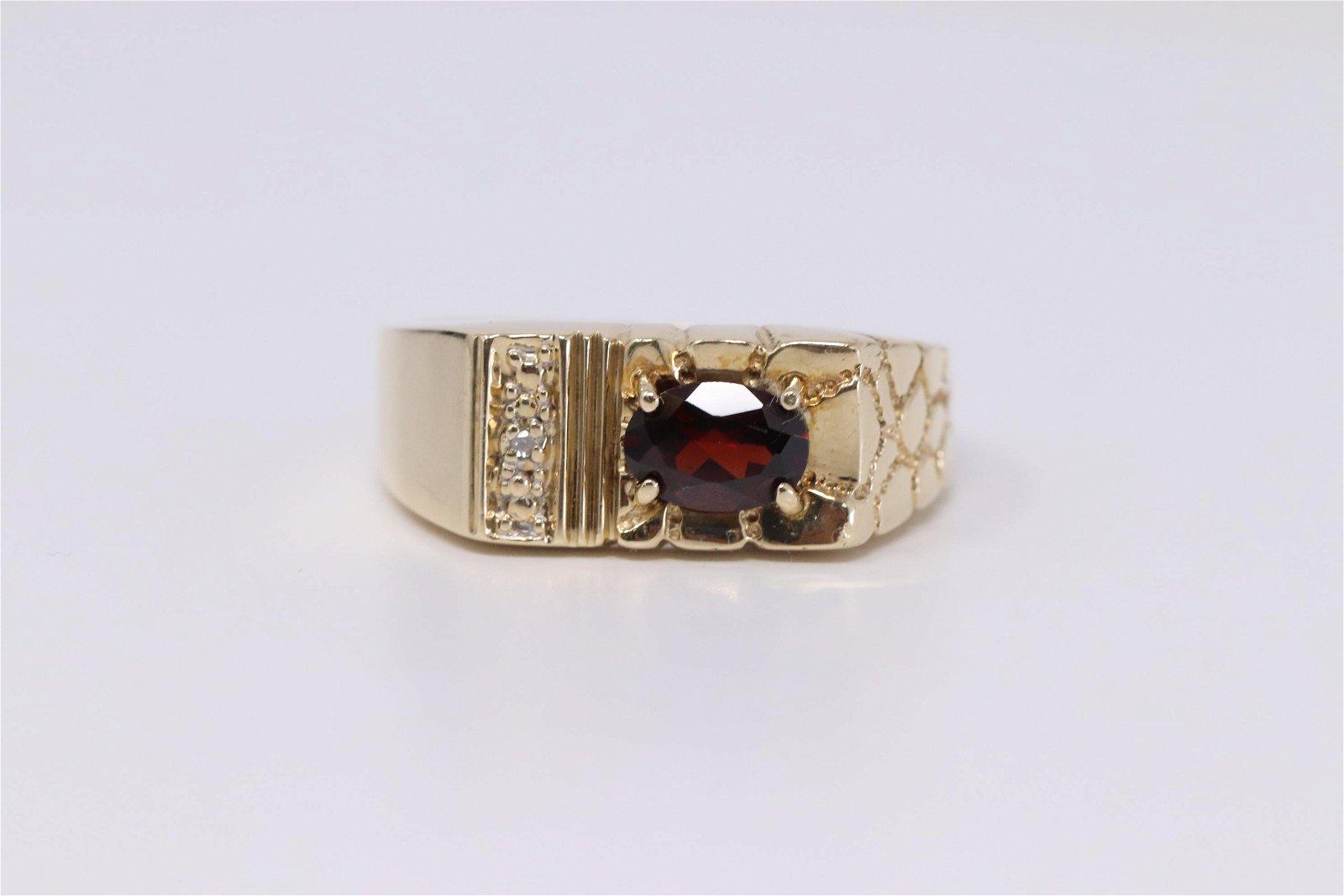 Men's Diamond & Garnet Ring