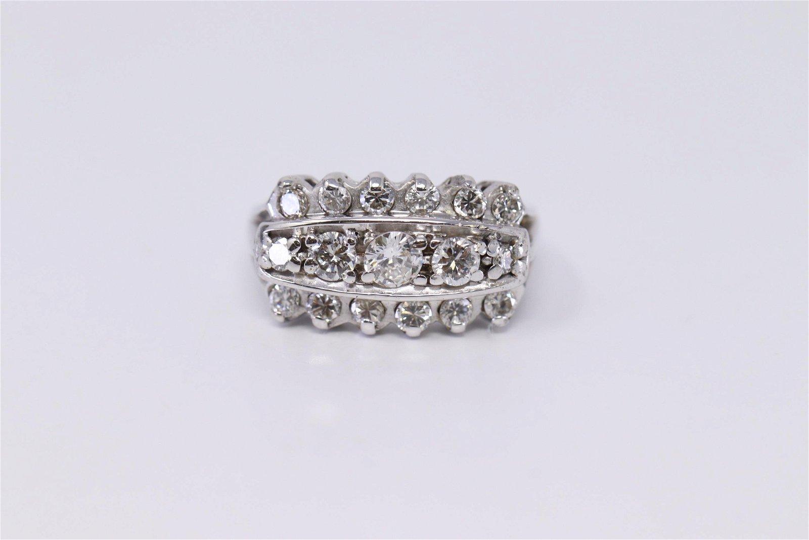 14K 3 Row diamond ring