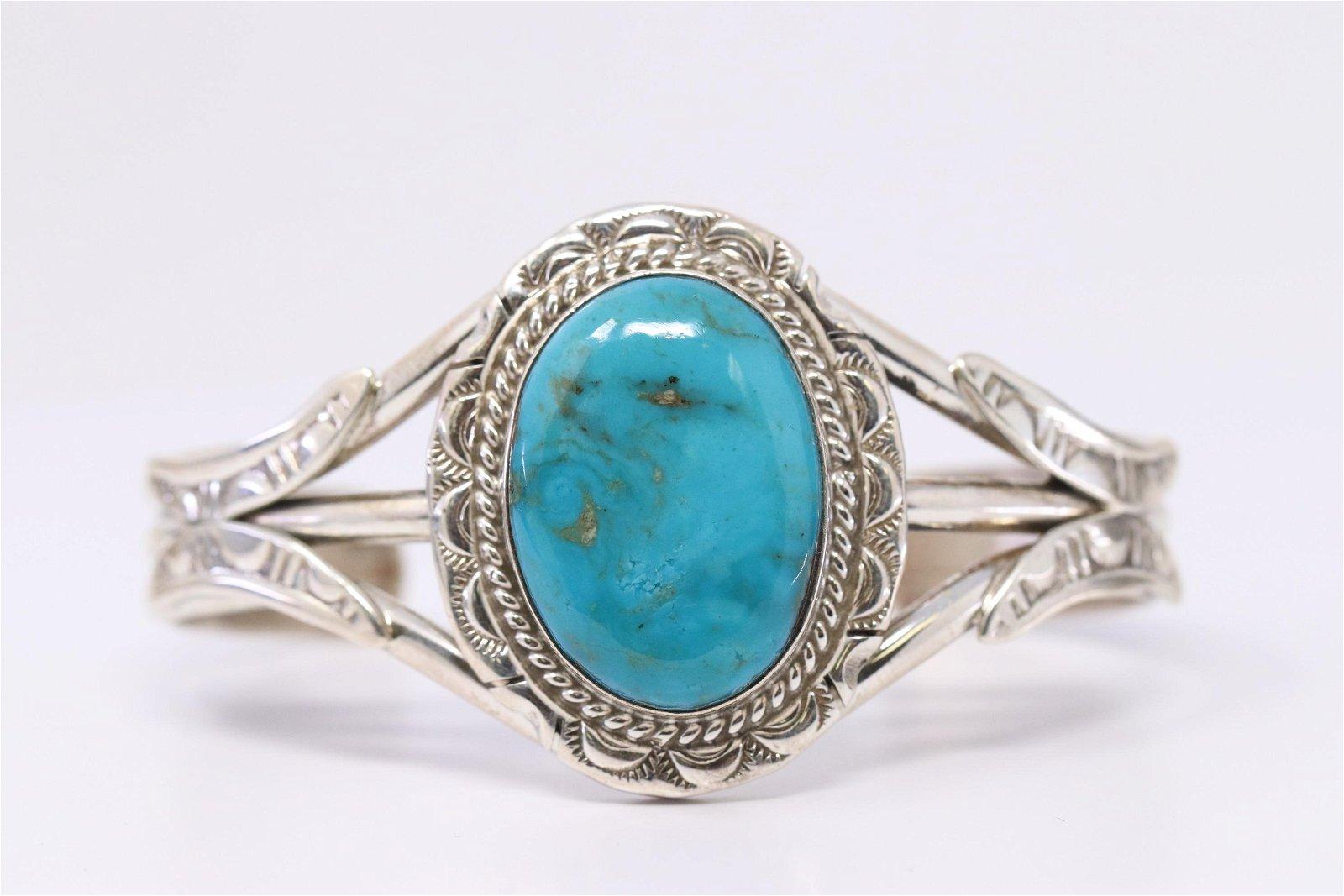 Navajo Sterling Silver Handmade Turquoise Bracelet