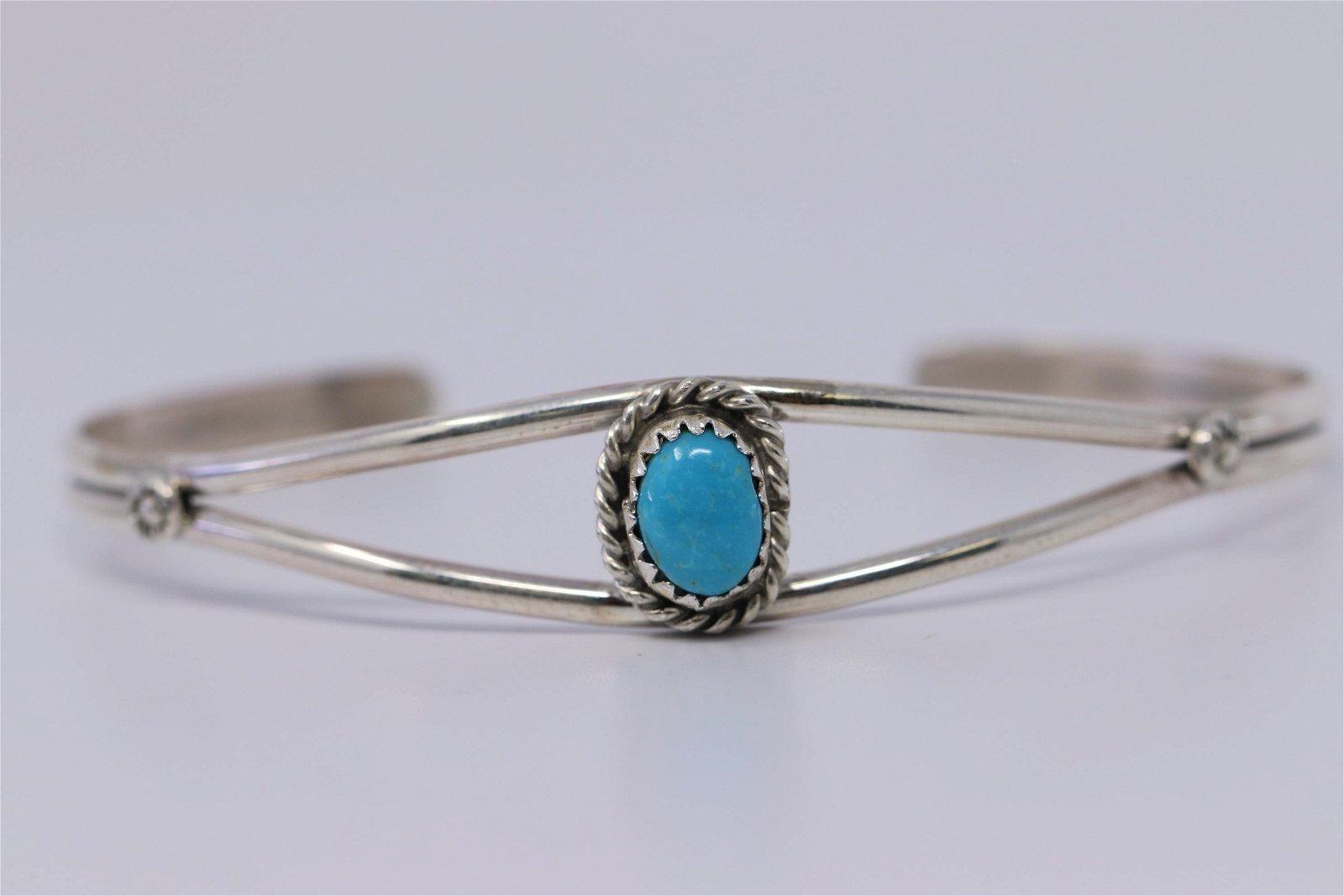 Navajo Indian Sterling Silver Turquoise Bracelet Elton