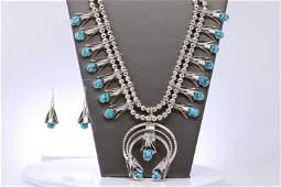 Navajo Handmade Sterling Silver Turquoise Squash