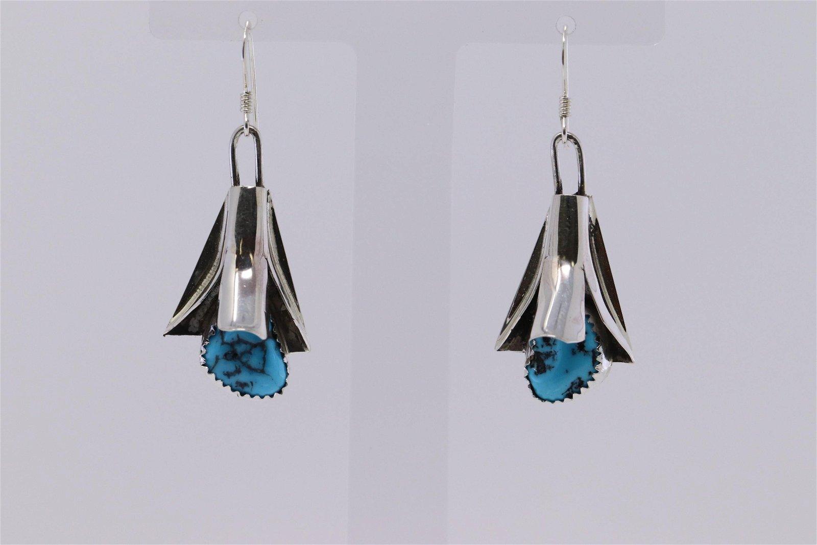 Navajo Handmade Sterling Silver Turquoise Hook Earrings
