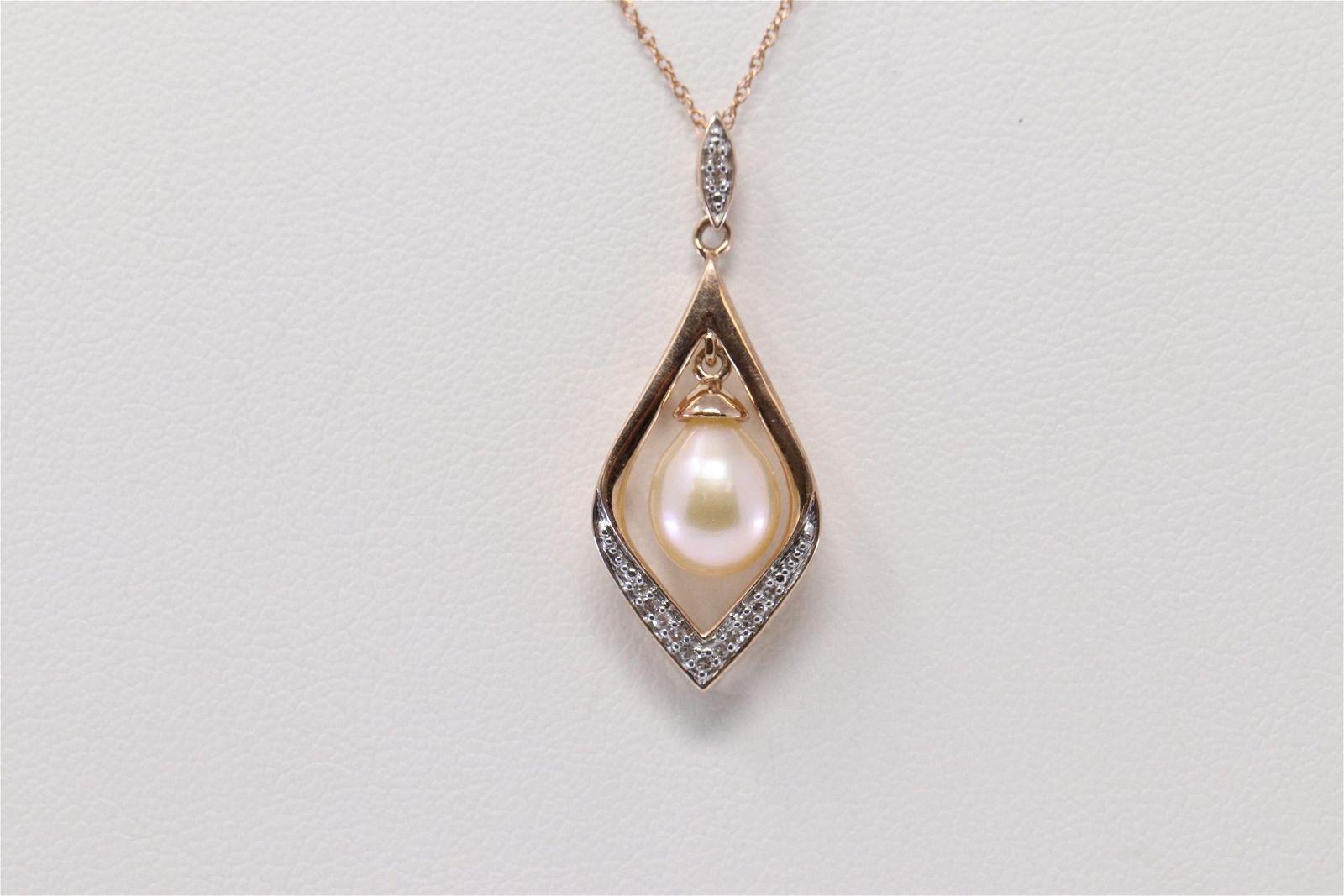 Rose Gold Diamond & Pearl Pendant