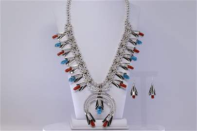 Native American Navajo Turquoise And Coral Sterling