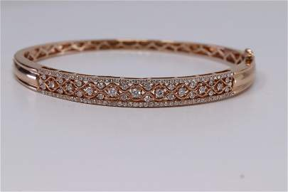 14Kt Rose Gold Diamond Bangle