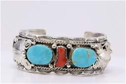 Native American Navajo Handmade Turquoise & Coral