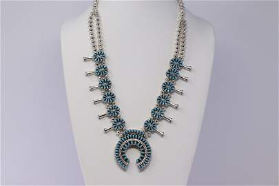 Native American Sterling Silver Turquoise And