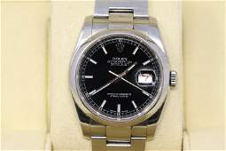 Rolex Datejust 36 Black Dial Stainless Steel Oyster