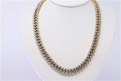 14KT Iced Cuban Diamond Chain (25cttw)