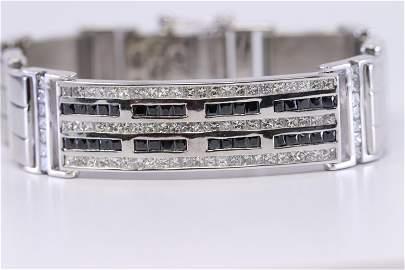 14Kt Diamond & Sapphire Bracelet Men's