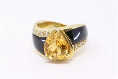 14KT Diamond Citrine Ring.