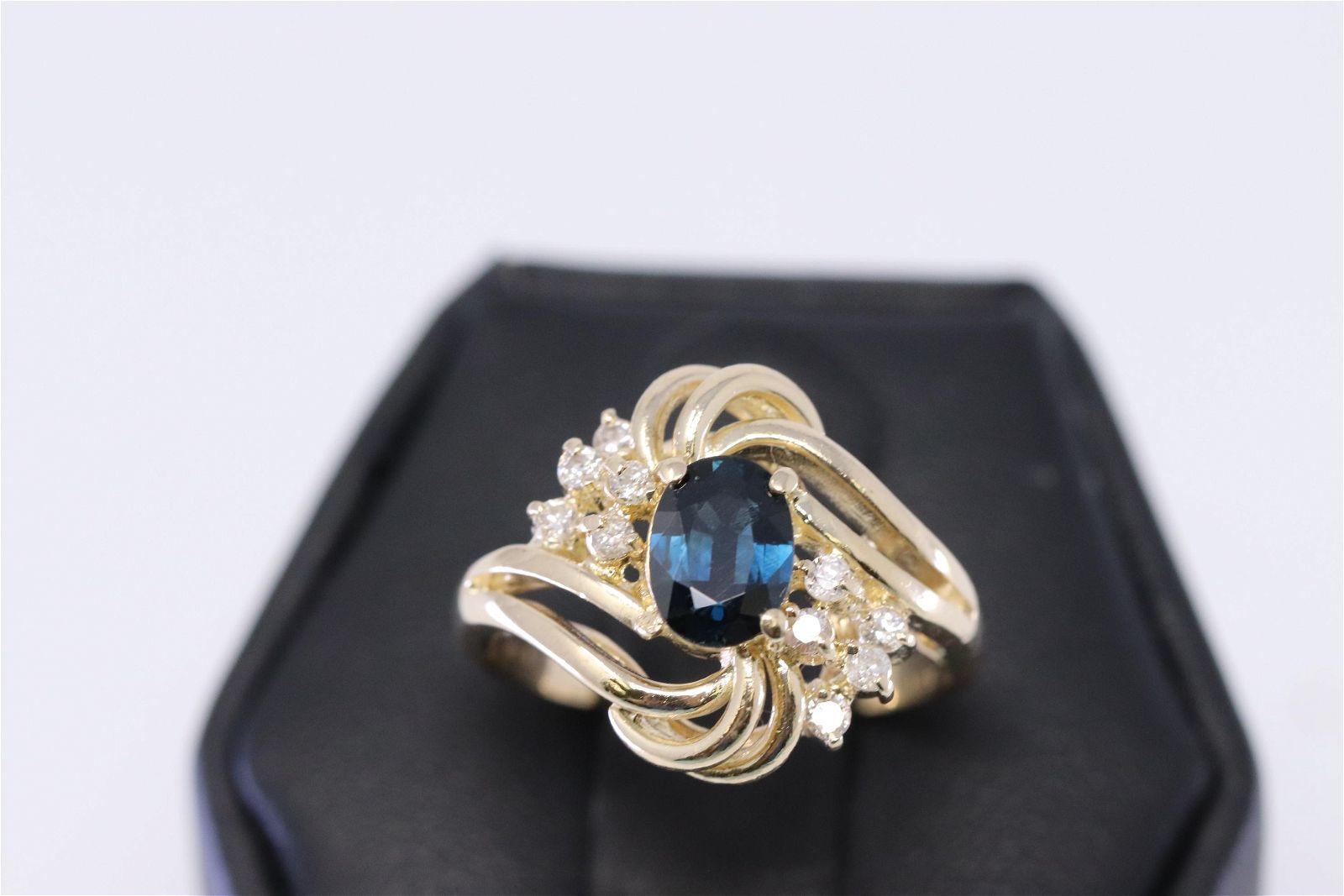 14Kt Diamond/Sapphire Ring