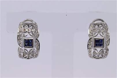14KT Diamond / Sapphire Earrings
