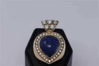 14KT Ladies Diamond Ring | Blue Lapis| Heart Shape