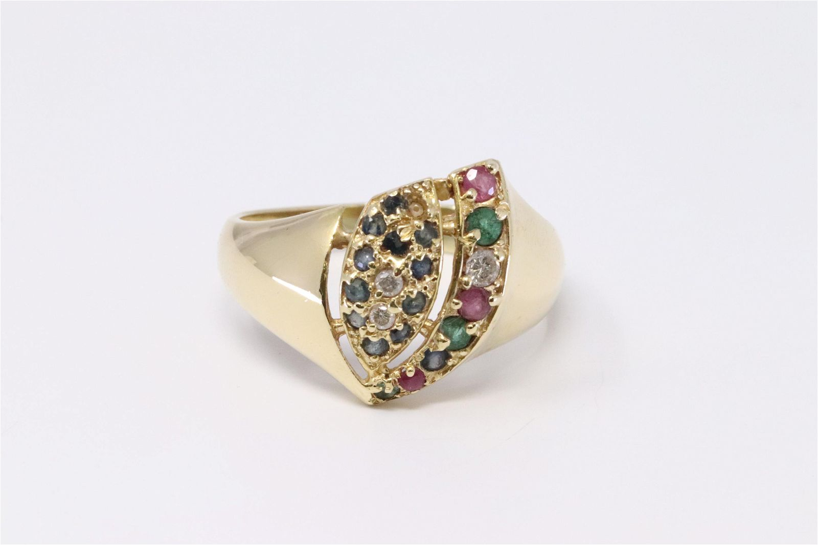 18KT Vintage Diamond/Sapphire/Ruby/Emerald Ring