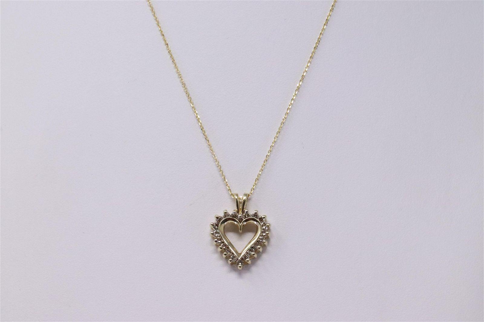 14KT Diamond Heart Pendant/14KT Necklace.