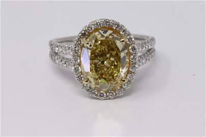 GIA 2.68Ct Fancy Yellow Diamond Ring 18Kt White Gold