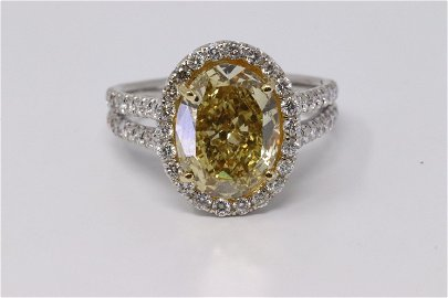 GIA 2.68Ct Fancy Yellow Diamond Ring 18Kt White Gold