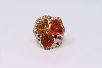 18Kt Opal & Diamond Ring