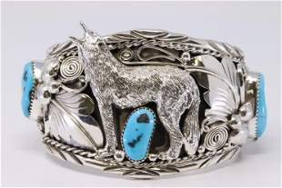 Native American Navajo Sterling Silver Turquoise Wolf