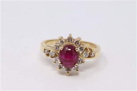 14Kt Cabochon Ruby | Diamond Ring