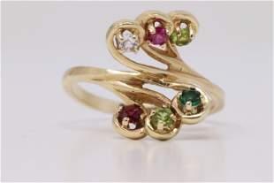 14kt Diamond Ring w/ Ruby's,Diamonds, Emerald and