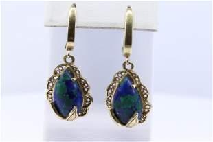 14Kt Yellow Gold Opal Earrings