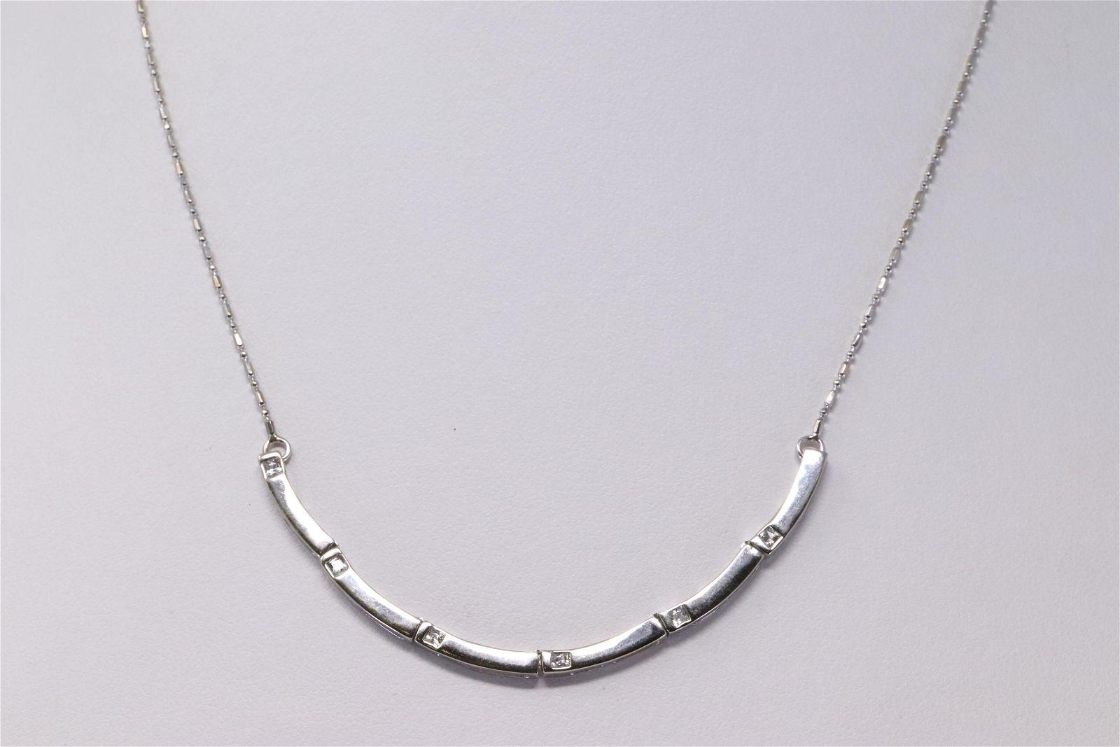 18Kt White Gold Diamond Necklace.