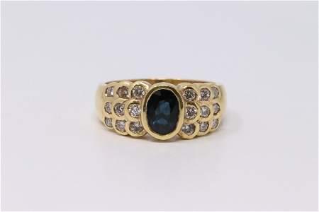Vintage 14Kt yellow Gold Sapphire Diamond Ring.