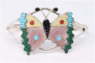 Native American Handmade Sterling Silver Zuni Bracelet