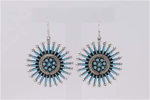Native America Zuni Handmade Sterling Silver Turquoise