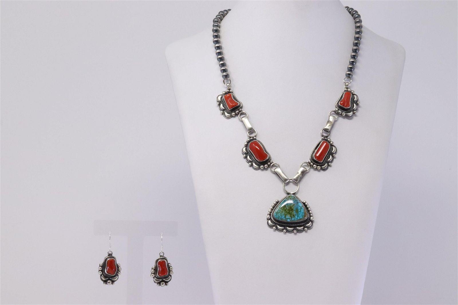 Native American Navajo Handmade Sterling Silver Coral &