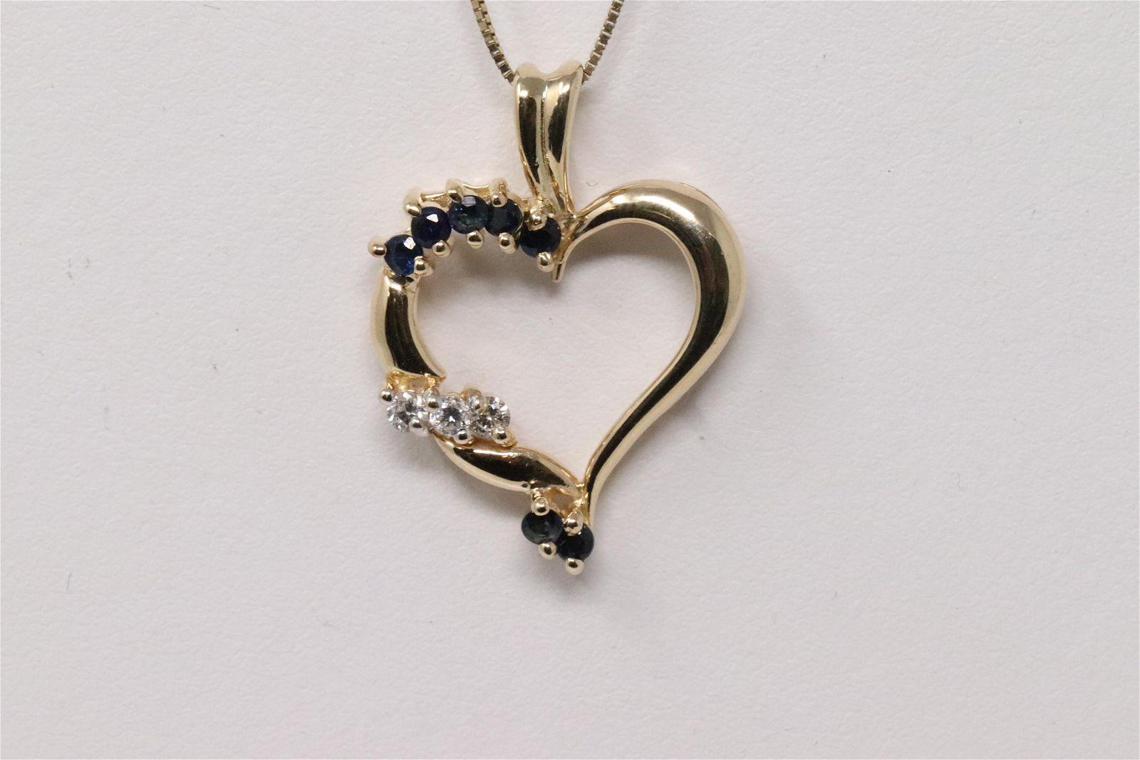 14KT Diamond/Sapphire Heart Pendant