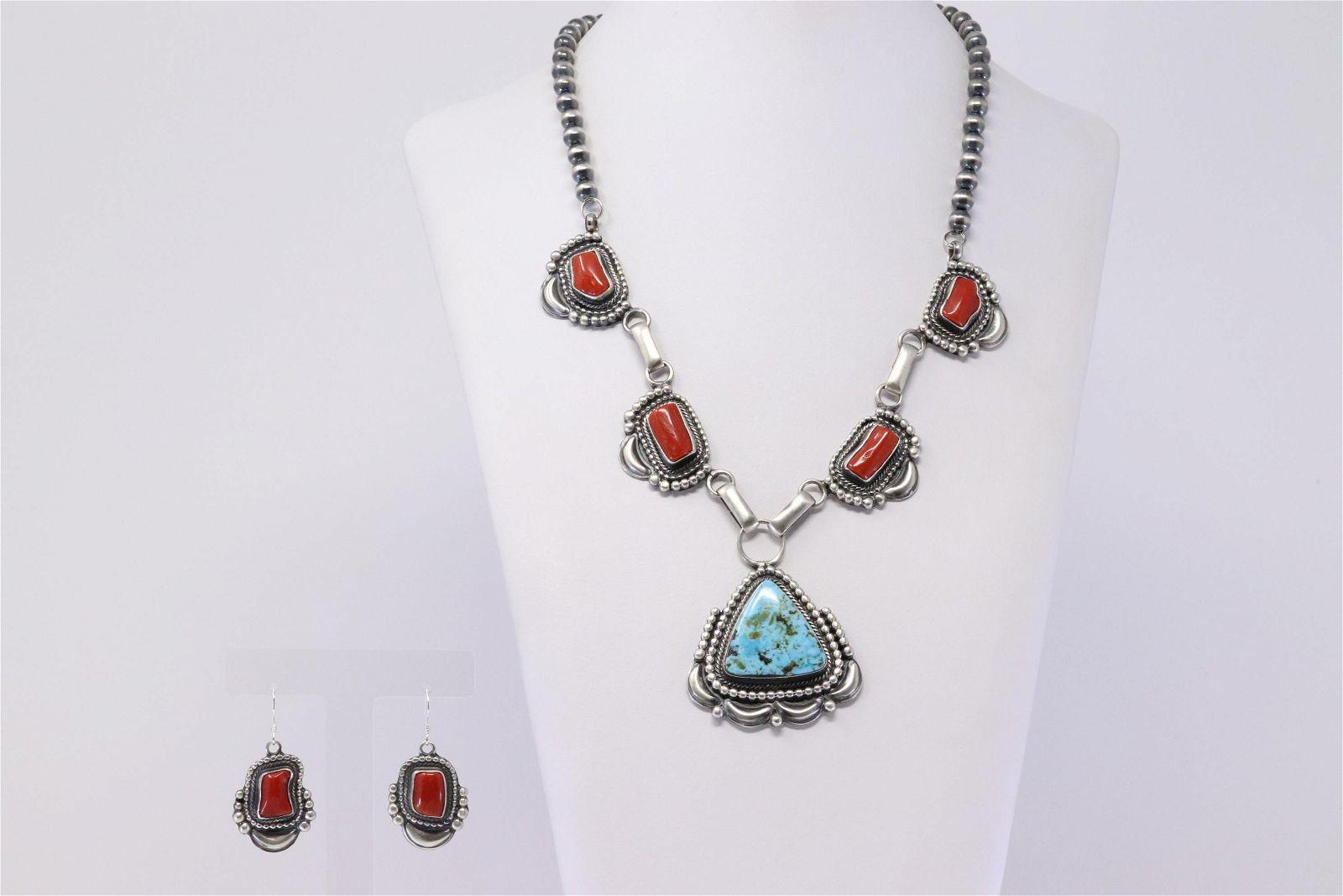Native American Handmade Sterling Silver Navajo Coral &