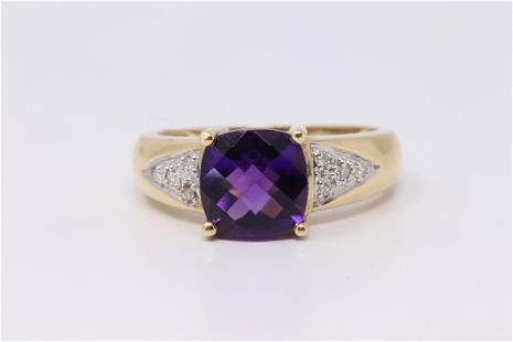 4Kt Yellow Gold Amethyst Diamond Ring.