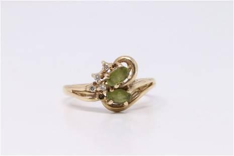 Yellow Gold Peridot Diamond Ring.