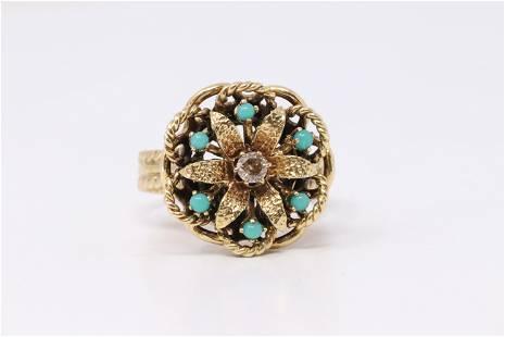 14Kt Vintage Yellow Gold Turquoise | Diamond Ring.