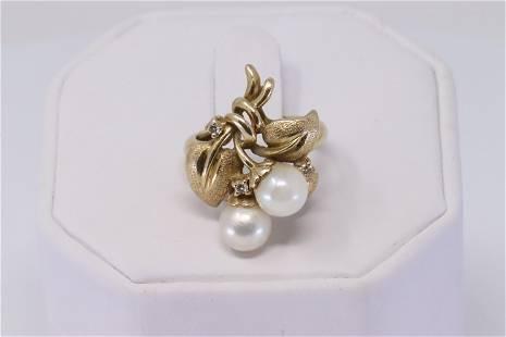 14Kt Diamond/Pearl Flower Ring