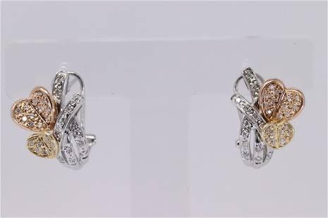 14Kt 3 Tone Diamond Double Heart Earrings