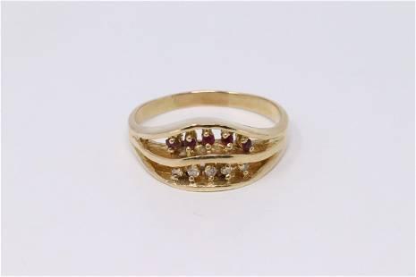 14kt Ladies Diamond & Ruby Ring