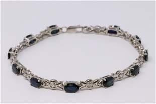 14KT Diamond/Sapphire Bracelet