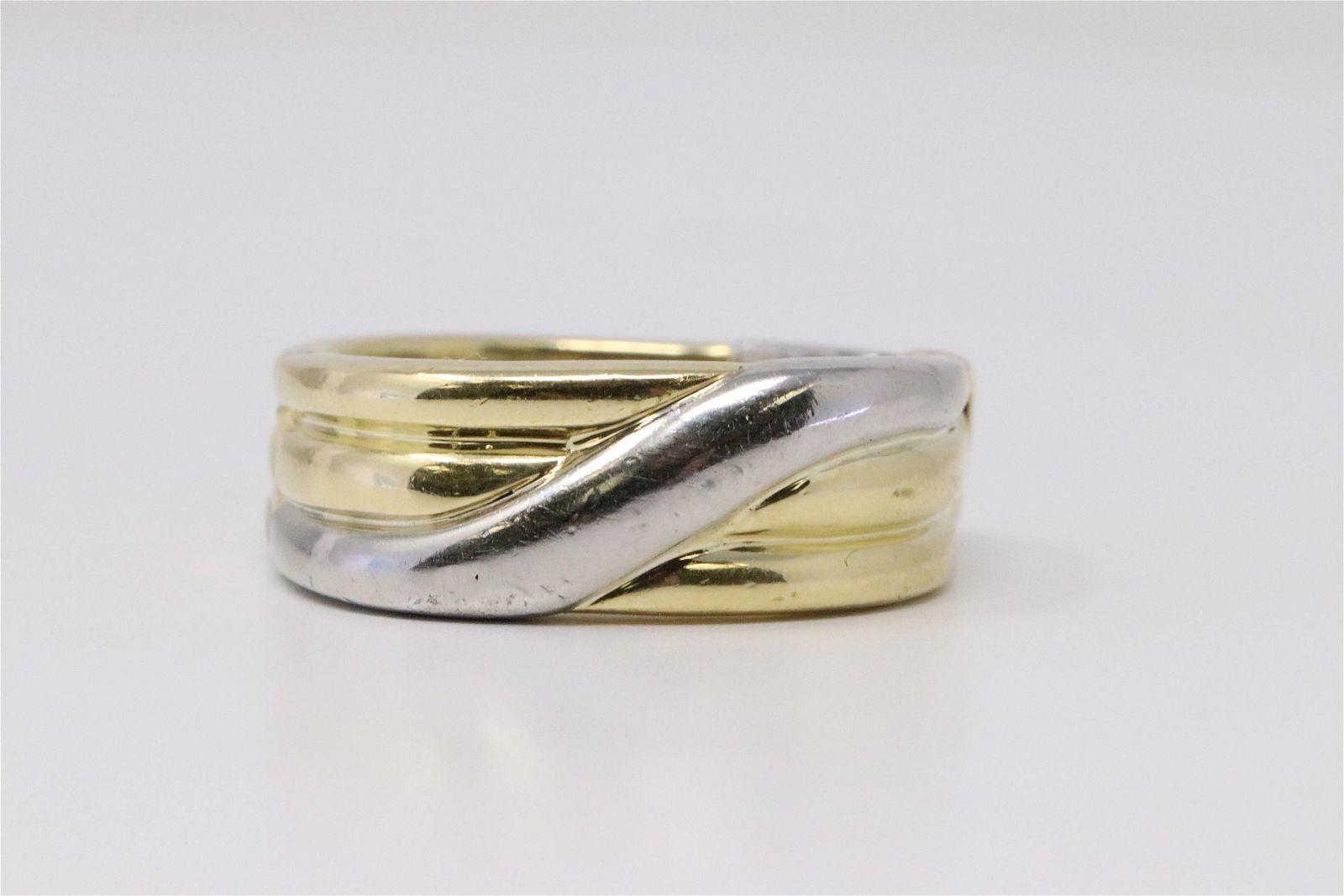 Mens Two Tone PLAT & 18K Gold Ring