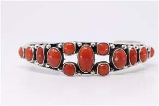 Native American Navajo Handmade Sterling Silver Coral