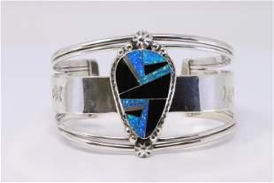 Native American Navajo Handmade Sterling Silver Onyx