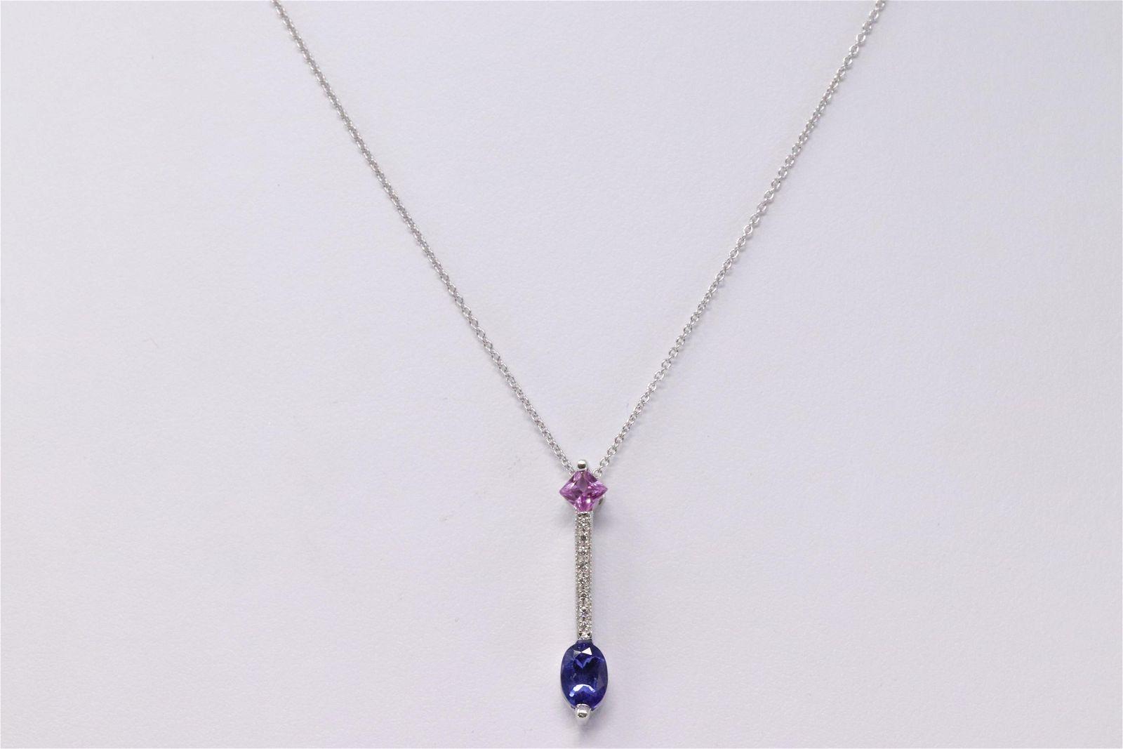14Kt Diamond Pendant & Oval Shape Tanzanite.
