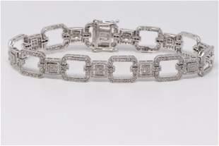 14KT White Diamond Bracelet.