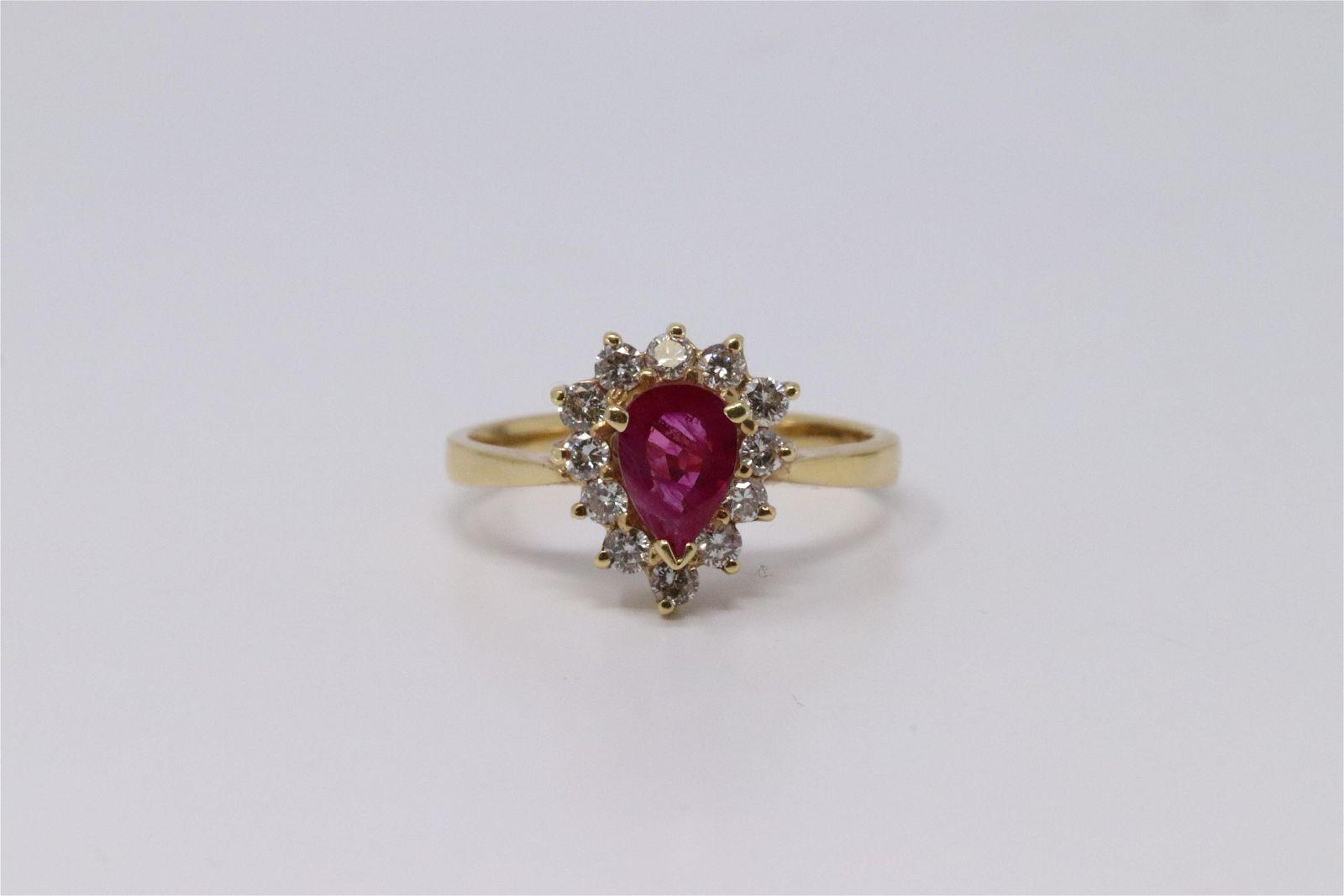 14Kt Yellow Gold Ruby & Diamond Ring.