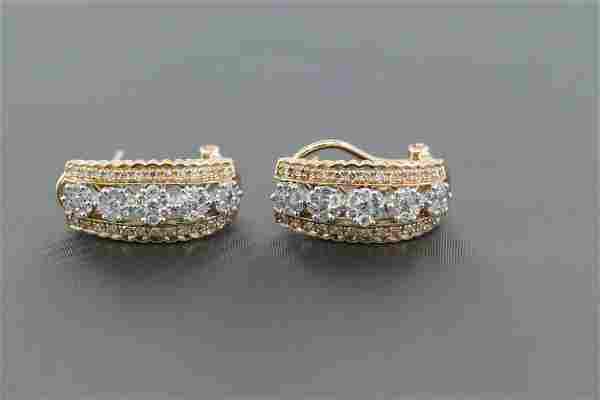 14Kt Contemporary Cluster Diamond Earrings