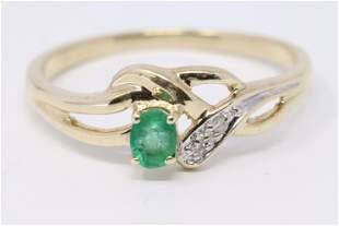 14KT Yellow Gold Diamond Ring with Ova Emerald