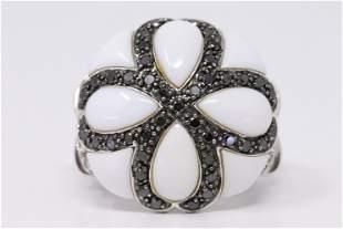 14Kt White Gold Black/White Diamonds/ White Enamel Ring